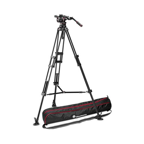 Manfrotto Nitrotech N12 video head w/ Twin leg tripod middle spreader