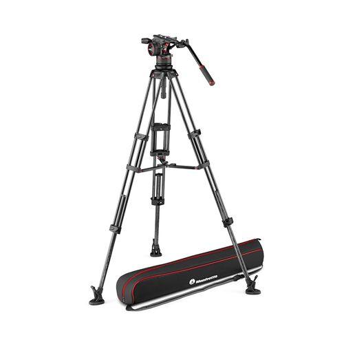 Manfrotto Tripod Nitrotech N12 video head w/CF Twin leg tripod MS 100/75mm