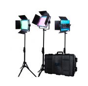 Dracast LED500 X Series RGB and Bi-Color LED 3 Light Kit with Injection Molded Travel Case